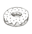 vintage donut drawing hand drawn vector image vector image