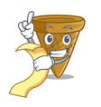 with menu empty wafer cone for ice cream character vector image