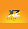 xz x z letter modern logo design with yellow vector image vector image