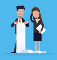 young office workers with a large list of tasks vector image vector image