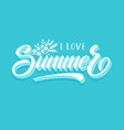 hand drawn lettering - i love summer elegant vector image
