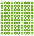100 crime icons hexagon green vector image vector image