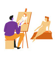 artist or painter and naked female model canvas vector image