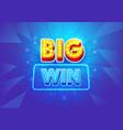 big win banner for gambling games or online casino vector image