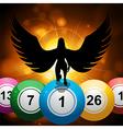 Bingo balls and lucky angel on star burst gold vector image vector image
