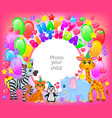 birthday party cute animal pink frame your baby vector image vector image
