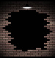 black hole in the brick wall stock vector image