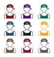boy in cap icon in black style isolated on white vector image vector image