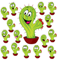cactus plant with many facial expression vector image vector image