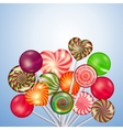 Candys sweets lollipops background vector image