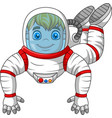 cartoon astronaut flying isolated on white backgro vector image vector image