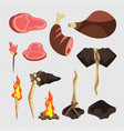 cartoon neolithic set tools and weapons isolated vector image vector image