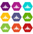 castle icons set 9 vector image vector image