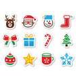 Christmas icons set as labels vector image vector image