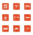 civil machinery icons set grunge style vector image