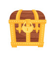 closed wooden chest with shiny golden lock vector image vector image