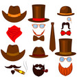 colorful cartoon 6 western man avatars set vector image