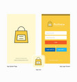 company shopping bag splash screen and login page vector image vector image