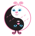 Cute rabbits yin yang vector image vector image
