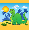 dinosaur in prehistoric landscape vector image vector image