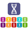 dna strand icons set flat vector image vector image