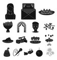 event organisation black icons in set collection vector image vector image