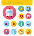 Flat health care and medical research icon set vector image vector image