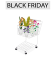 Flower and Orchid in Black Friday Shopping Cart vector image vector image