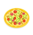 Fresh pizza icon with vegetables and pepperoni