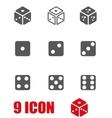 grey dice icon set vector image vector image