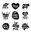 hand drawn milk logotypess signs set for vector image