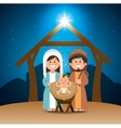 holy family merry christmas manger vector image vector image