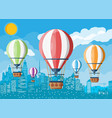 hot air balloon in sky with clouds and sun vector image vector image