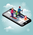 isometric happy family skiing searching for cross vector image