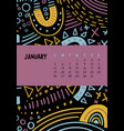january colorful monthly calendar for 2020 year vector image