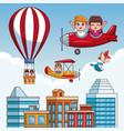 kids flying cartoons vector image vector image