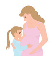 Little girl touching her pregnant mom belly