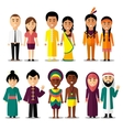 National couples characters in cartoon vector image