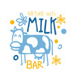 nature milk bar logo symbol colorful hand drawn vector image vector image