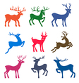 Nine colored deer set silhouettes vector image vector image