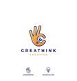 ok hand gesture bulb idea logo icon vector image vector image