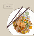 pat thai stir-fried rice noodle local thailand vector image vector image
