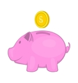 Pink pig money box icon cartoon style