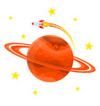 planet icon with a rocket vector image vector image