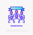 protest demonstration thin line icon vector image