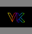rainbow color colored colorful alphabet letter vk vector image