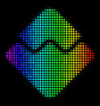 rainbow colored pixel waves currency icon vector image vector image