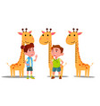ruler baheight giraffe boy girl vector image vector image