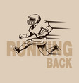 running back graphic isolated vector image vector image