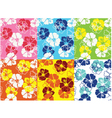 seamless hibiscus flower pattern vector image vector image